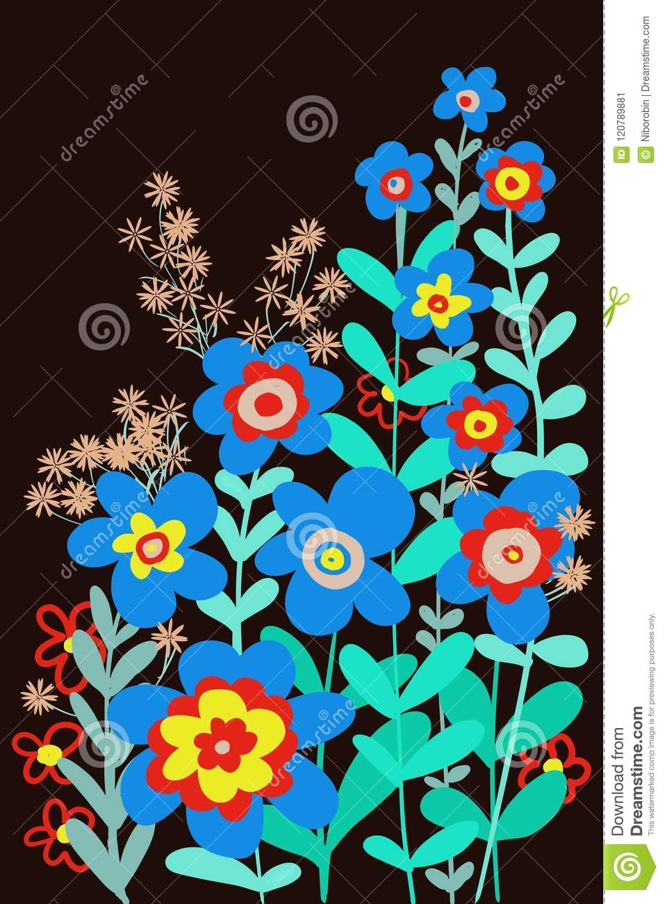 Hand Drawn Flat Floral Cut Paper Look Graphic Design For Covers