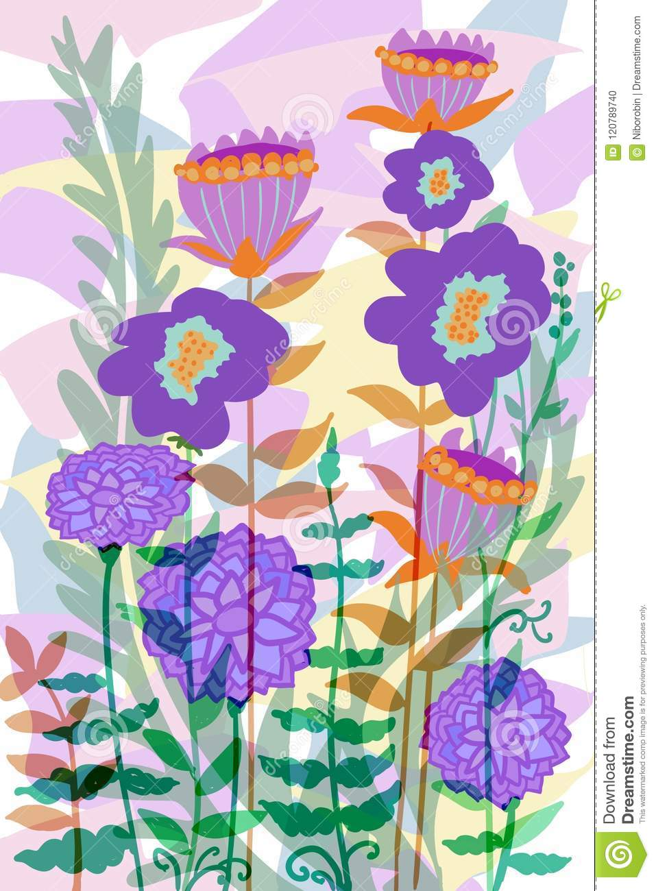 Hand Drawn Flat Floral Graphic Design For Covers Posters