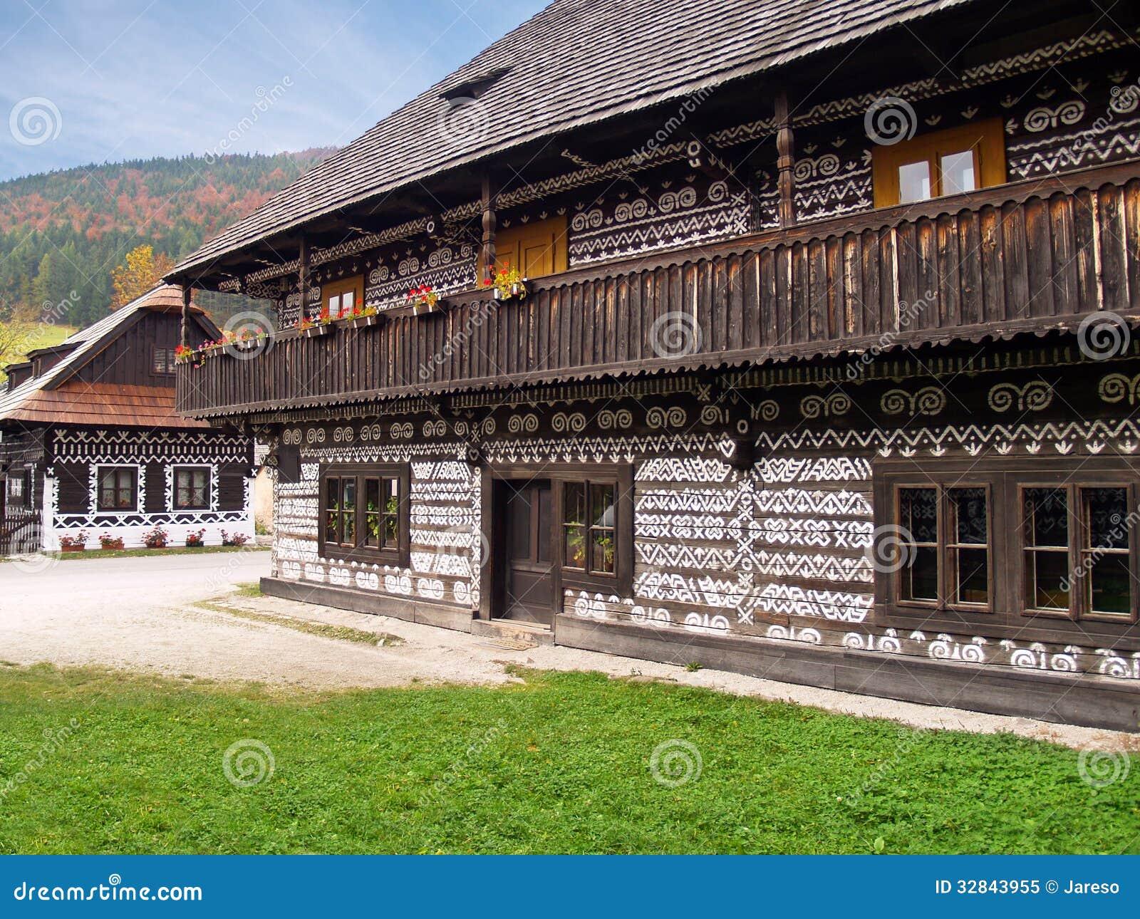 Unique folk houses in Cicmany, Slovakia