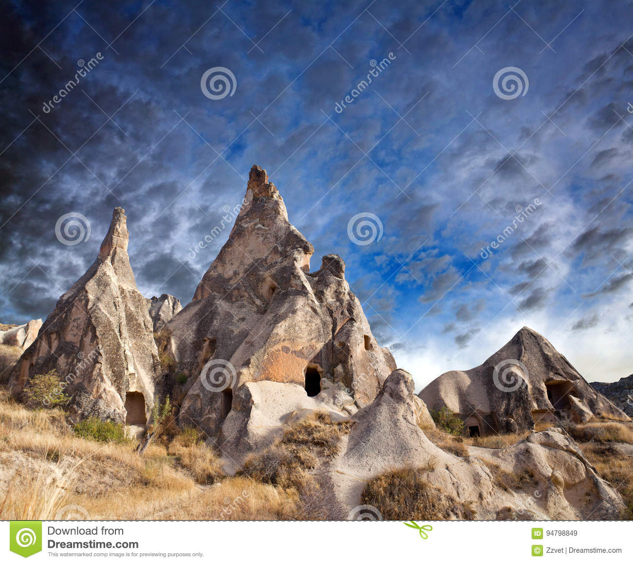 Download Unique Geological Formations In Cappadocia, Turkey Stock Image - Image of chimneys, geological: 94798849