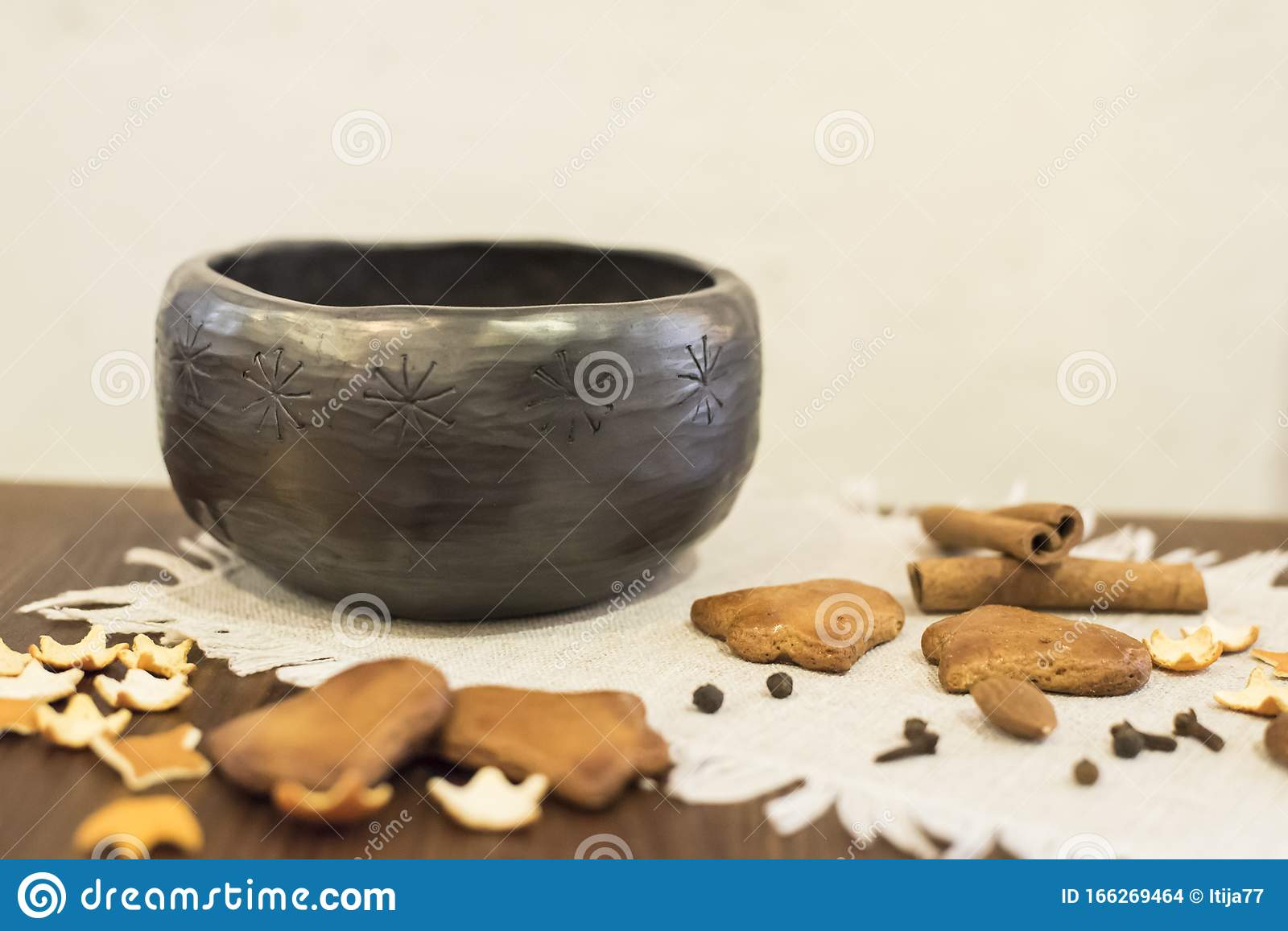 Unique Handmade Black Ceramic Bowl With Delicious Homemade Gingerbread Cookies Stock Photo Image Of Christmas Decoration 166269464