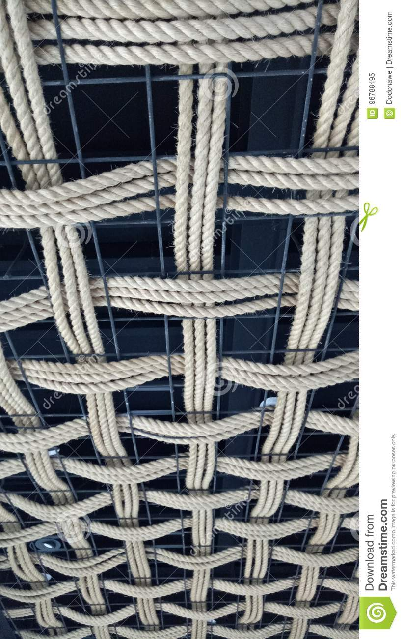 Unique House Ceiling Tile Made Of Rope Stock Image Image Of Adult