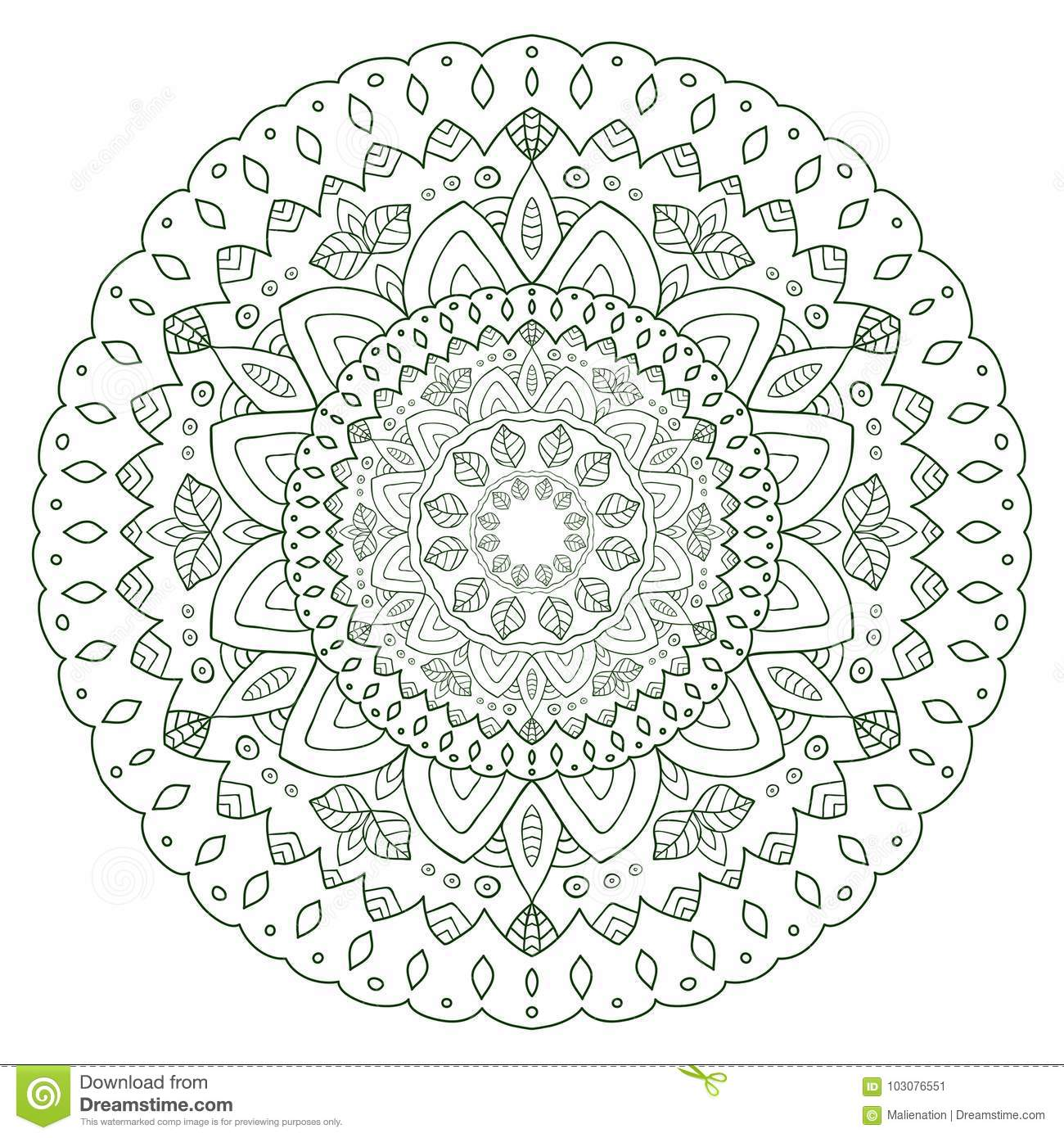 Unique Mandala Design Round Ornamental Pattern For Coloring Book