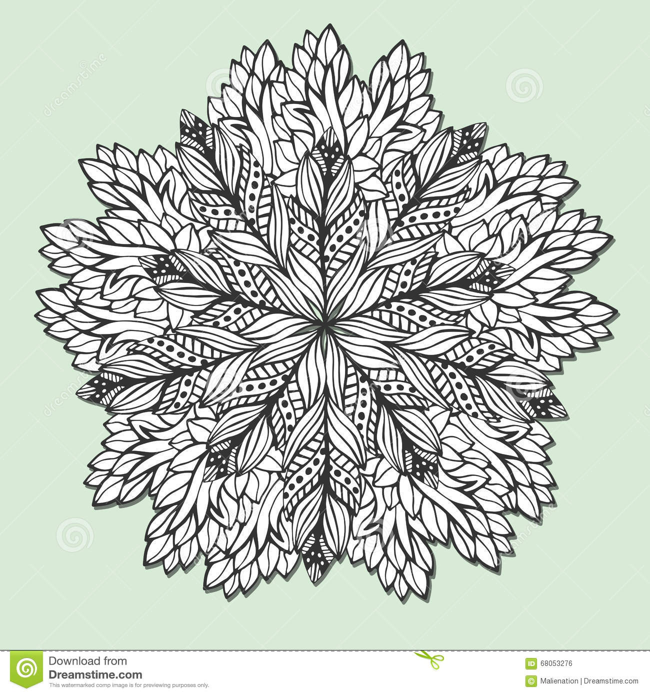 Unique mandala coloring pages - Unique Mandala With Leaves Round Zentangle For Coloring Book Pages Circle Ornament Pattern For