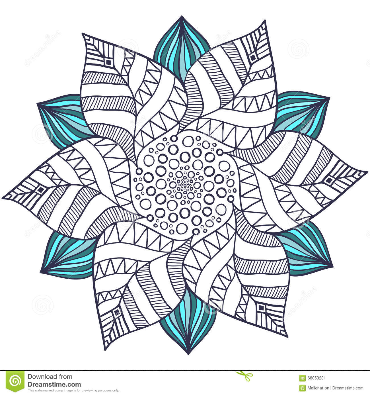 Abstract flowers coloring pages