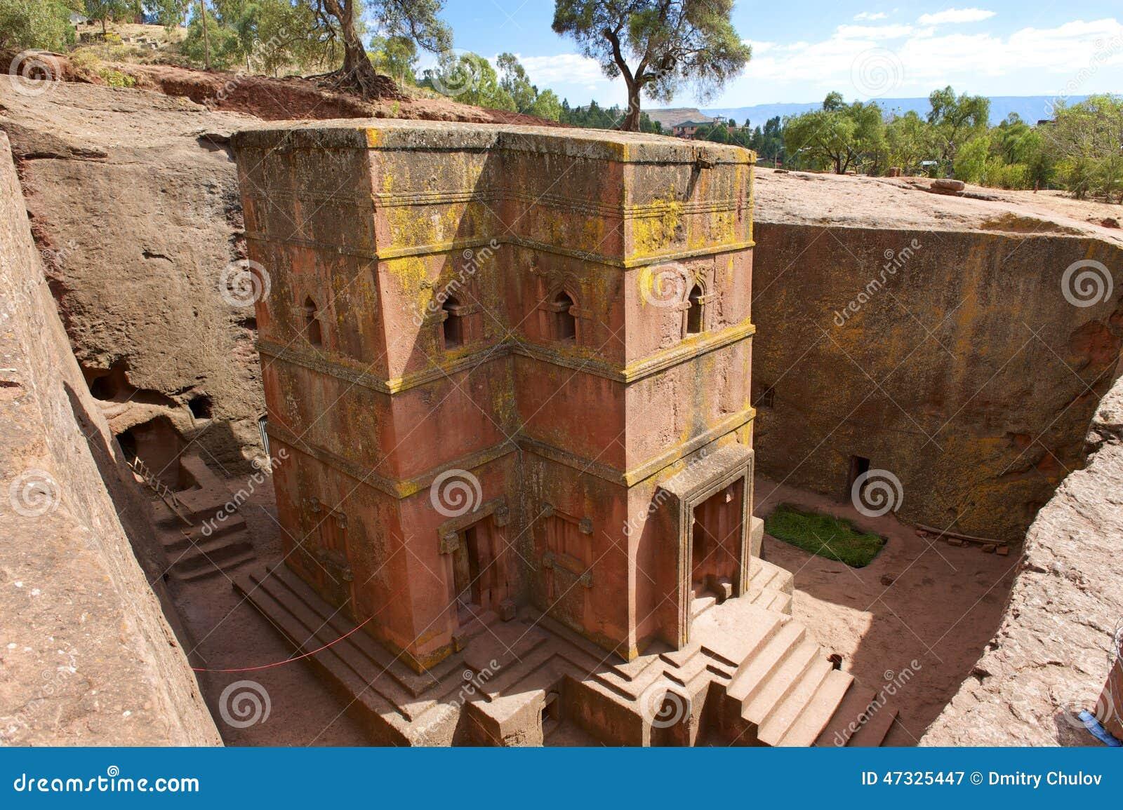 Unique monolithic rock-hewn Church of St. George, UNESCO World heritage, Lalibela, Ethiopia.