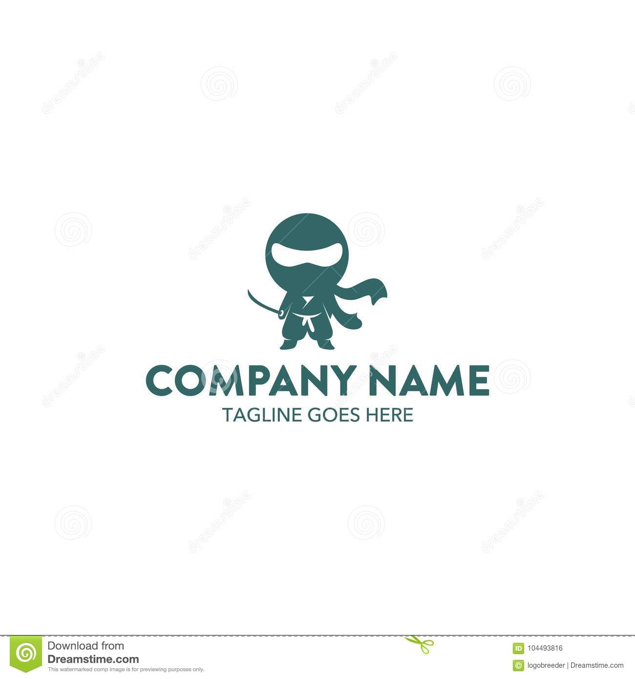 unique ninja mascot character logo template vector editable stock