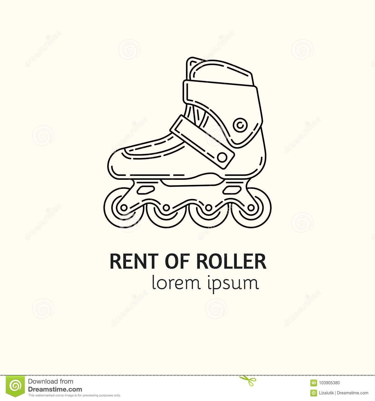 modern linear style rental of roller skates logotype template stock