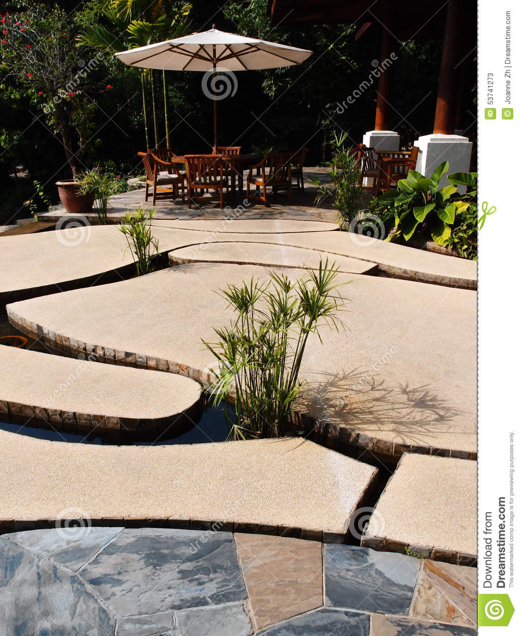 unique patio design, stone slabs over water stock photo - image