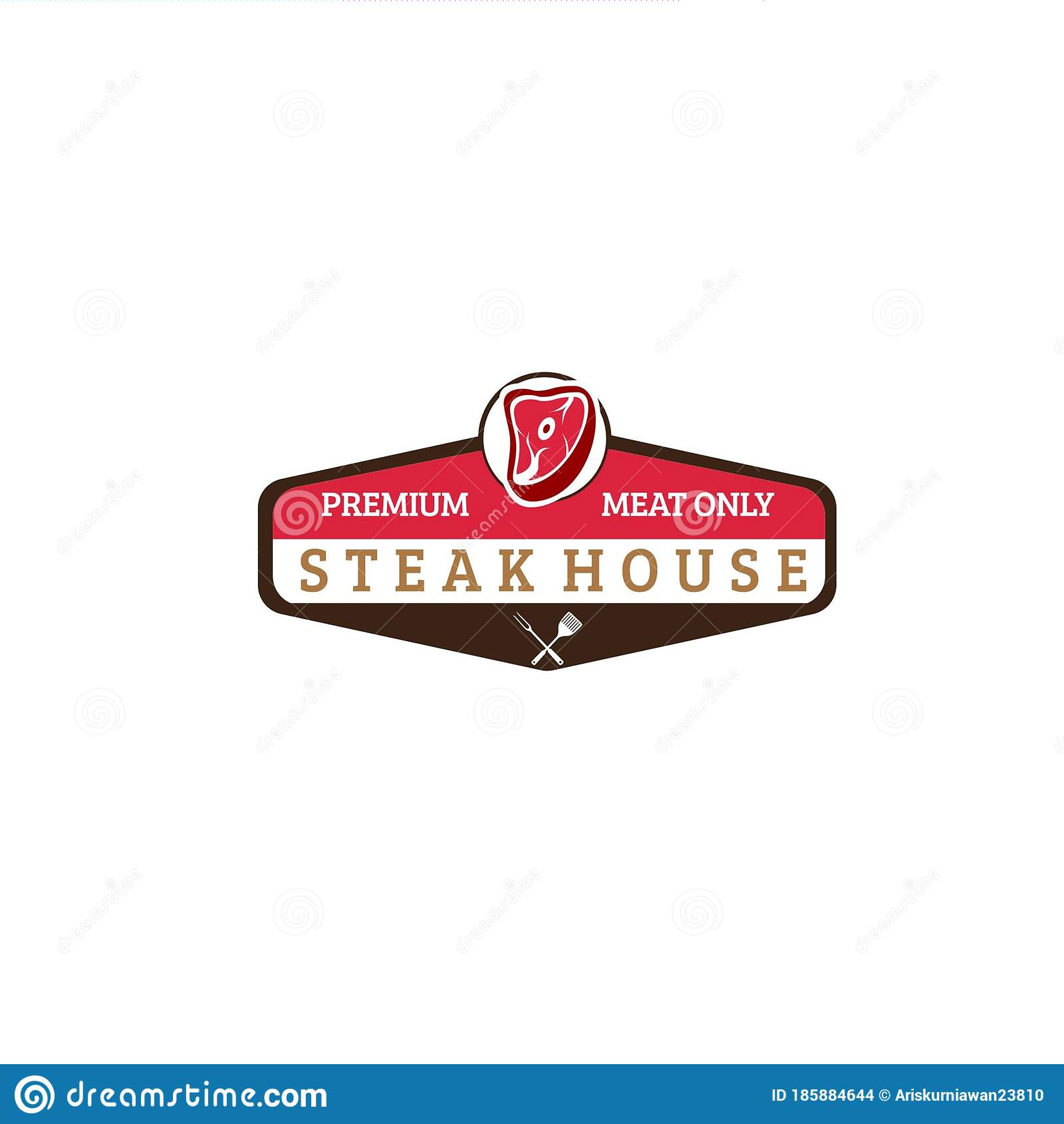 Unique Restaurant Logo With Meat And Hexagon Frame Stock Vector Illustration Of Cutlet Gourmet 185884644