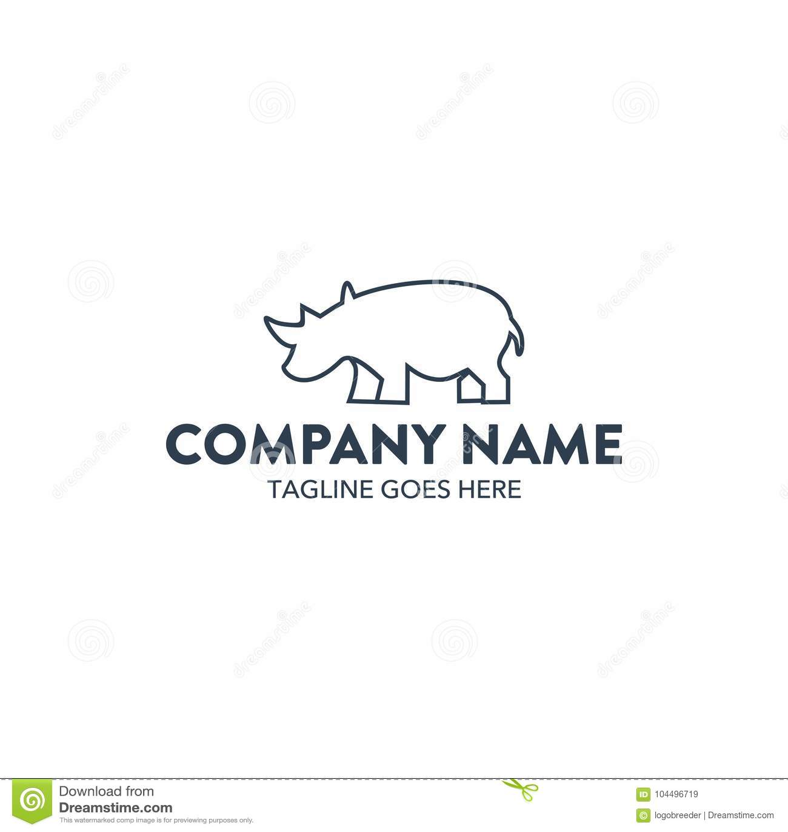 unique rhino logo template vector editable stock vector