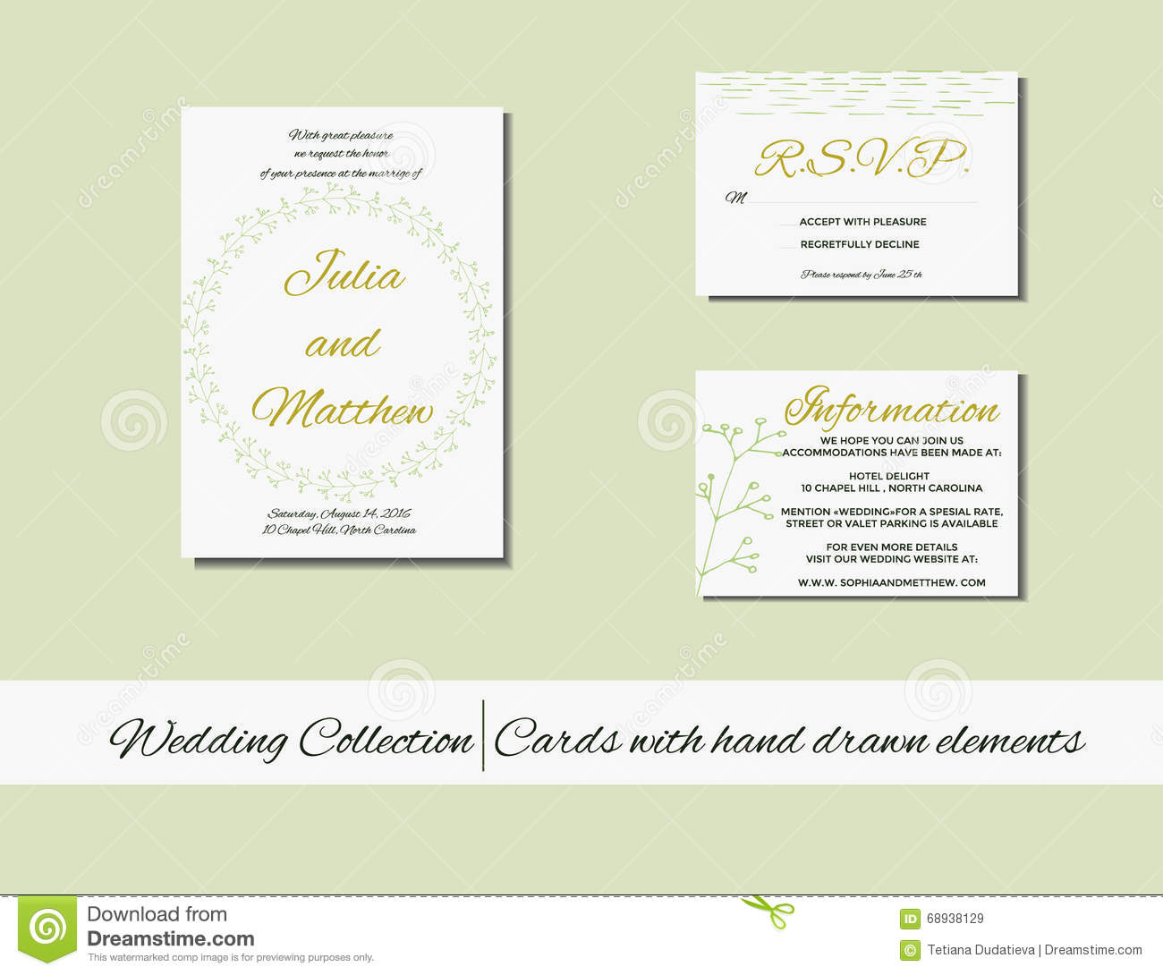 Unique Set Of Wedding Invitation Cards With Hand Drawn Elements ...