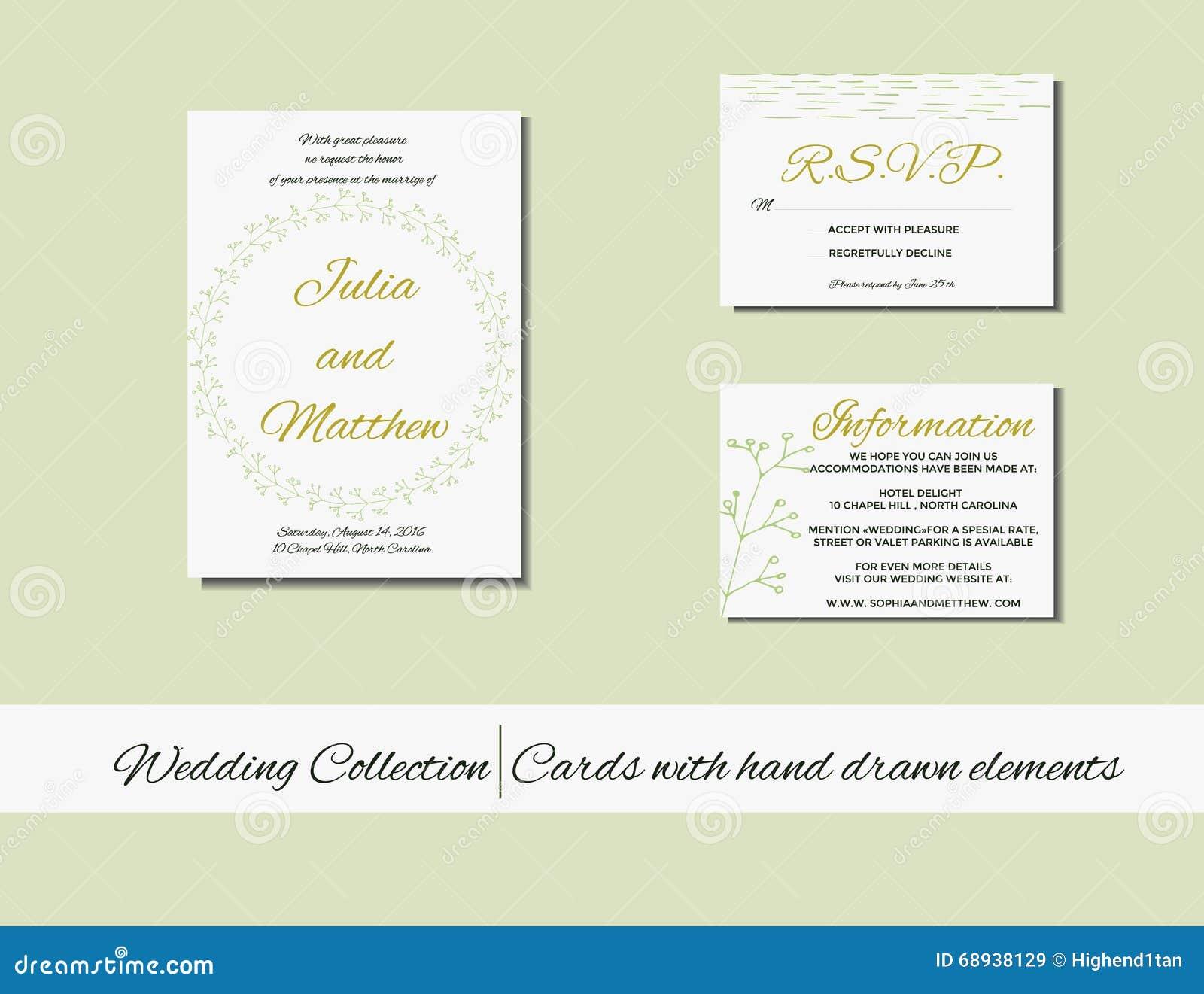 Unique set of wedding invitation cards with hand drawn elements download unique set of wedding invitation cards with hand drawn elements stock vector illustration stopboris Gallery