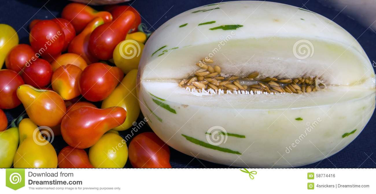 Unique Snow Leopard Melon Fresh Grown Teardrop Tomatoes Stock Photo ...