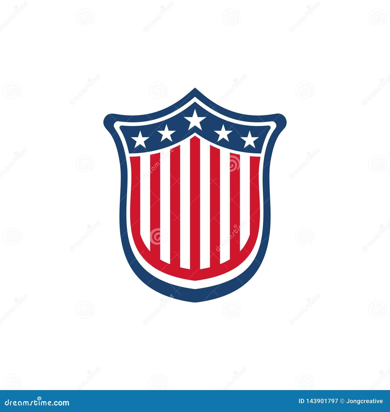Unique Star American Flag Shield Symbol Isolated Stock