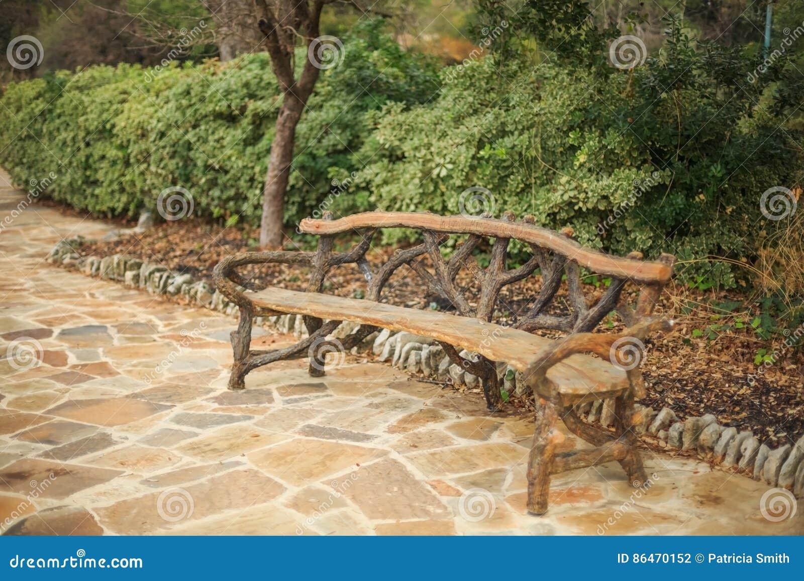 Unique Handmade Wooden Bench Stock Photo - Image of boredom ...