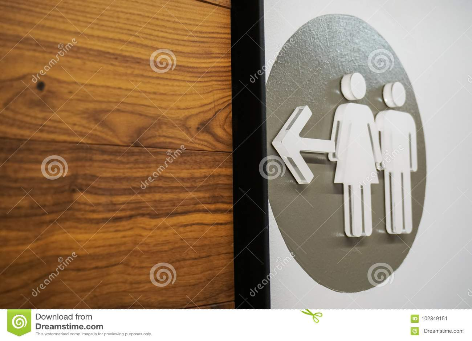 Unisex знак ванной комнаты показывая человека и женщины