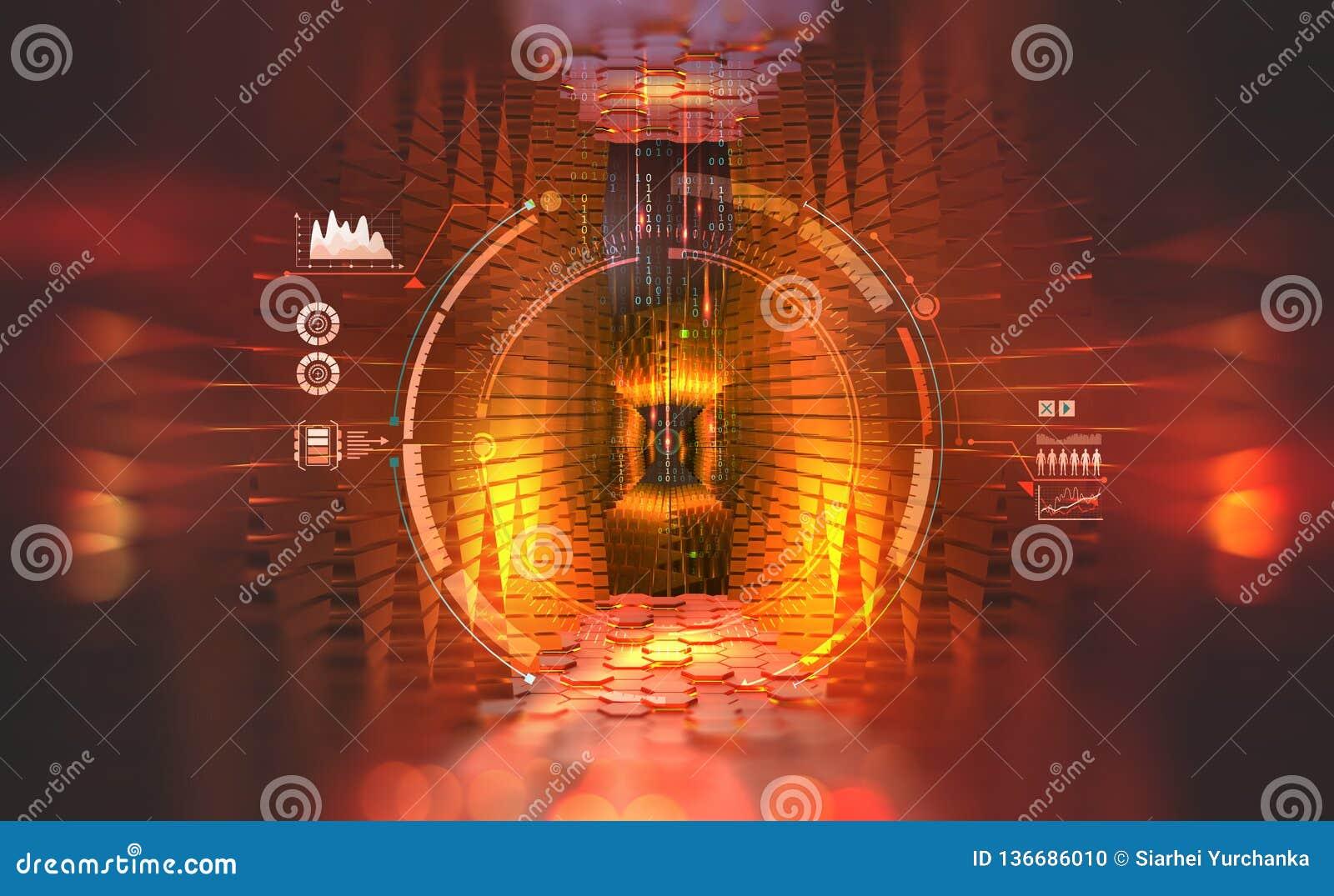 Unità di elaborazione globale del futuro Computer e flussi di informazioni di Quantum Concetto di grandi dati in una società digi