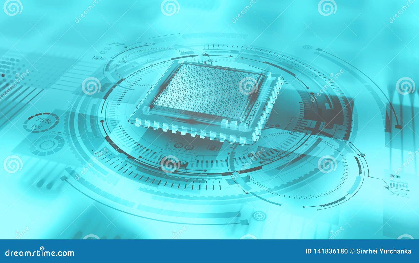 Unité centrale de traitement futuriste Processeur de Quantum dans le réseau informatique global
