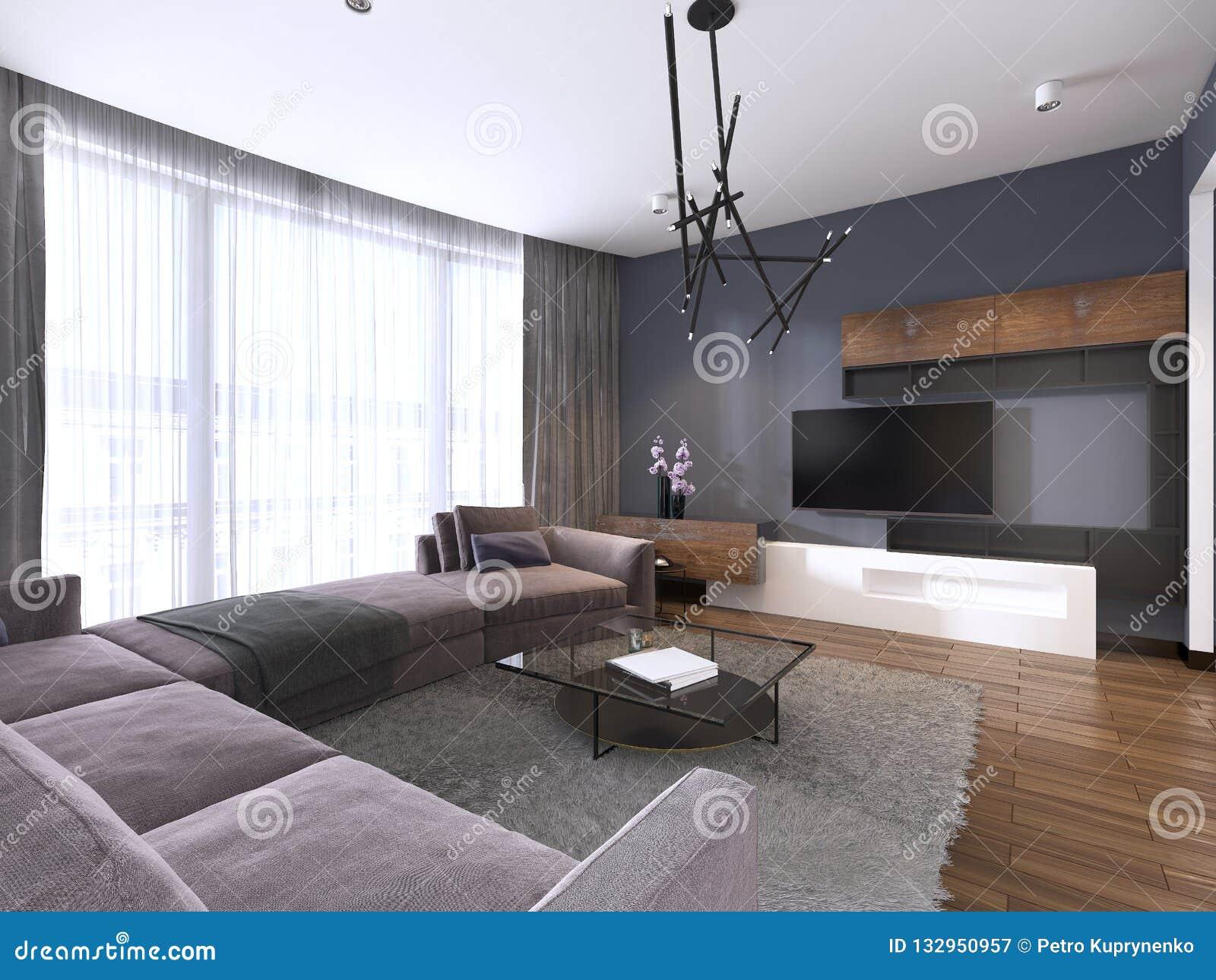 Unité De TV Dans Le Salon Contemporain Avec Sofa Et Fenêtres ...