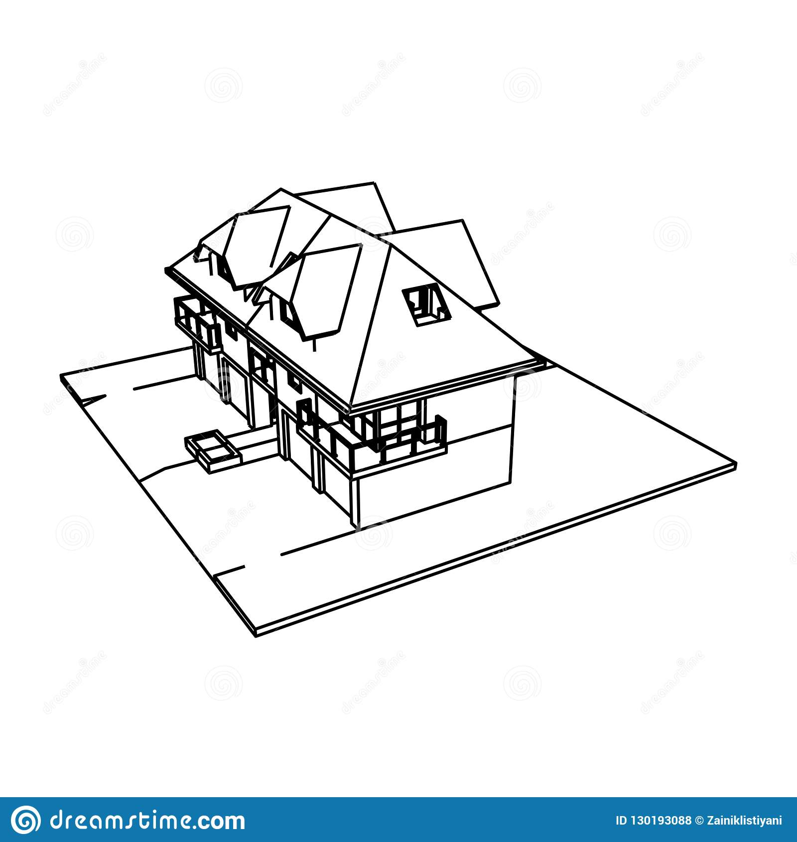4 Unit Apartment Building With 4 Garages Stock Illustration ...