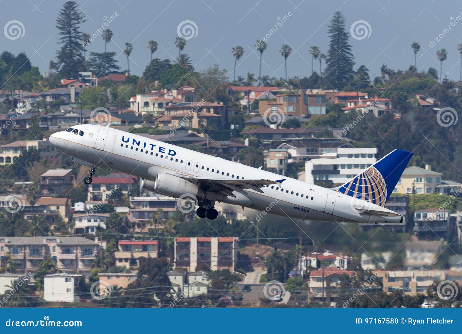 United Airlines-Luchtbus A320-232 N405UA het vertrekken San Diego International Airport