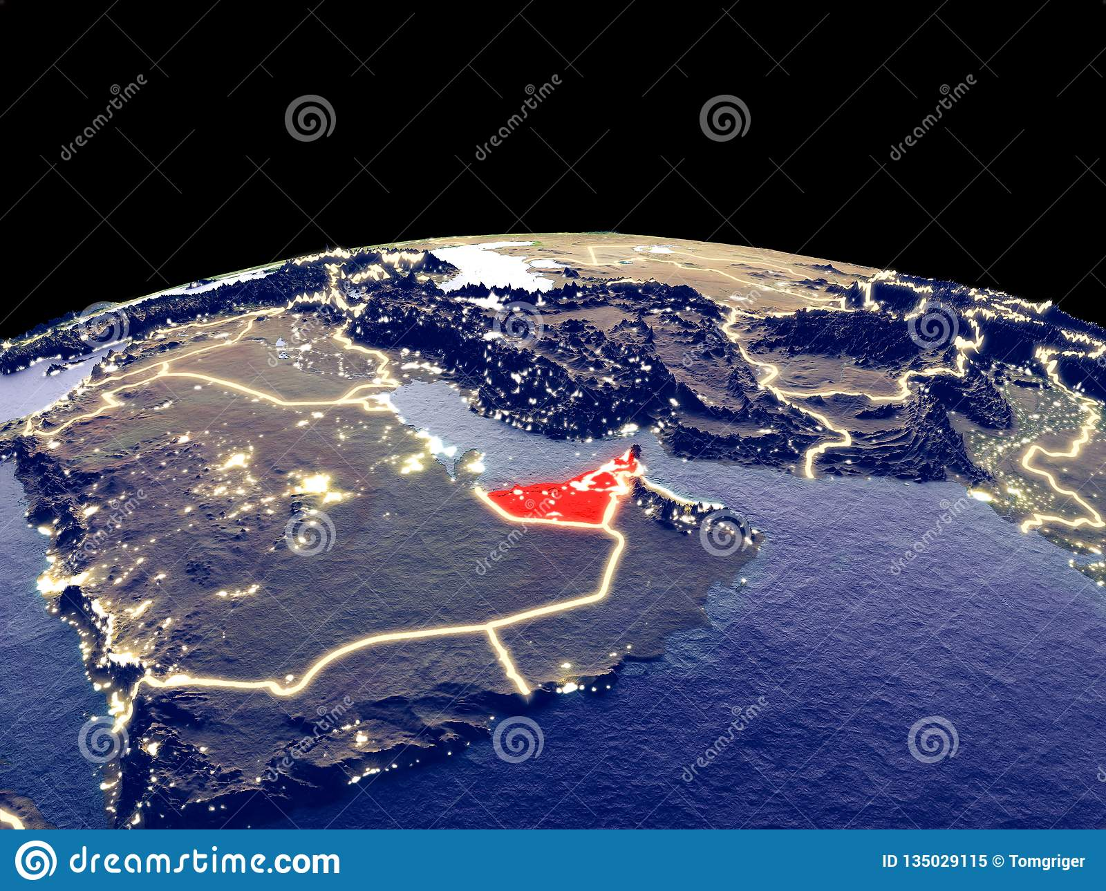 United Arab Emirates On Earth From Space Stock Illustration
