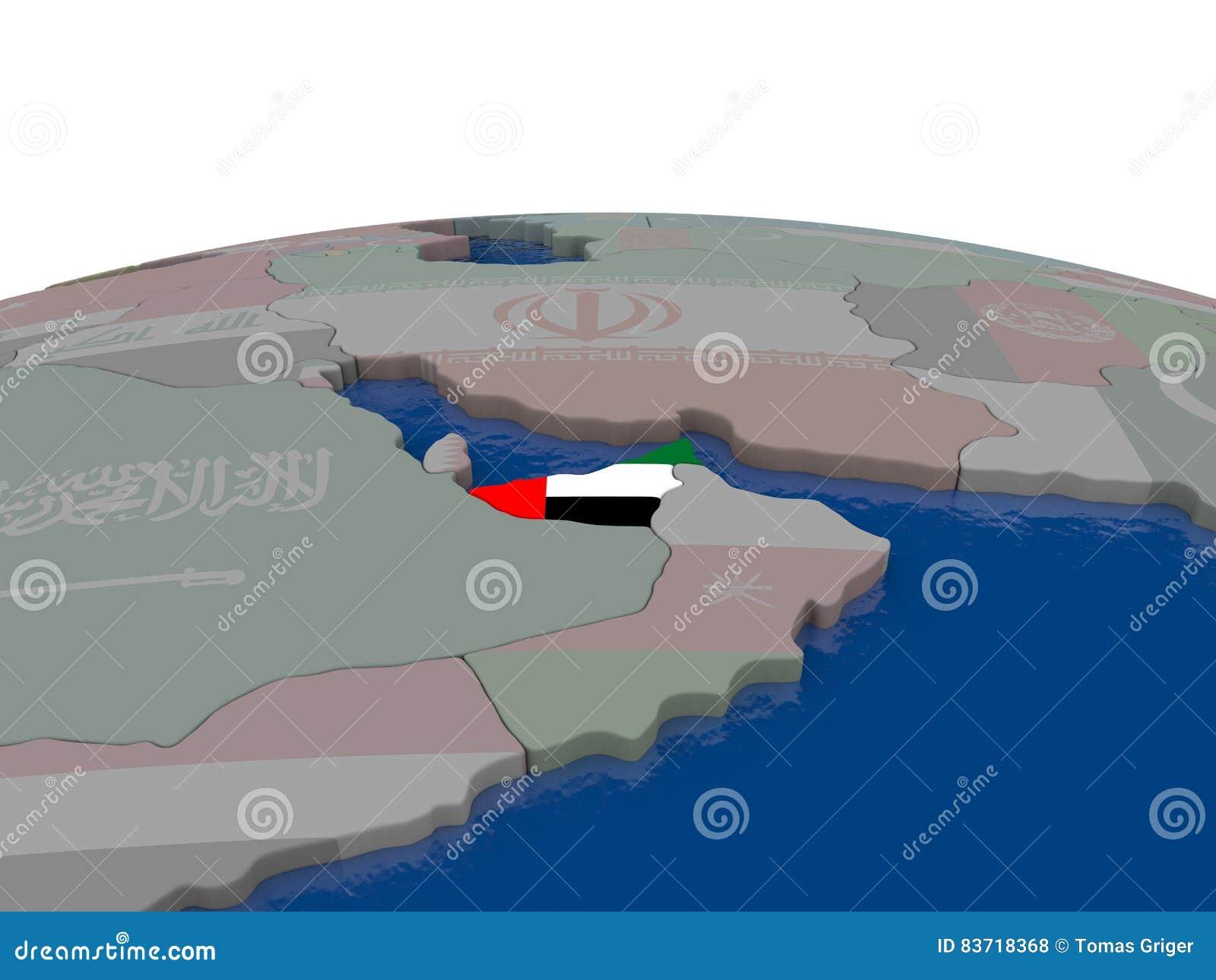 United Arab Emirates With Flag Stock Illustration