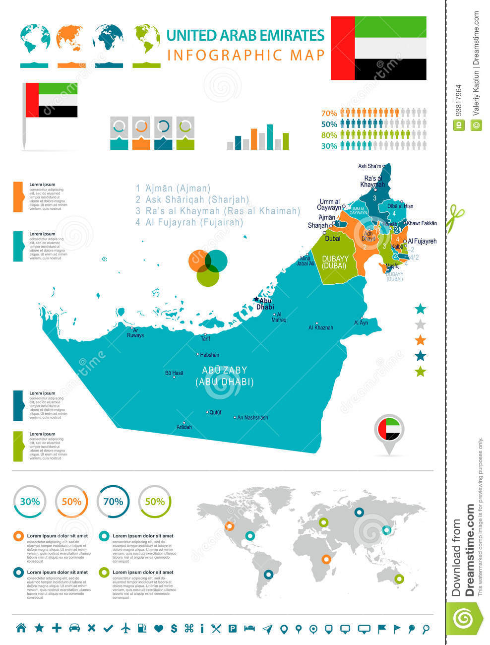 United Arab Emirates - Map And Flag - Infographic ...