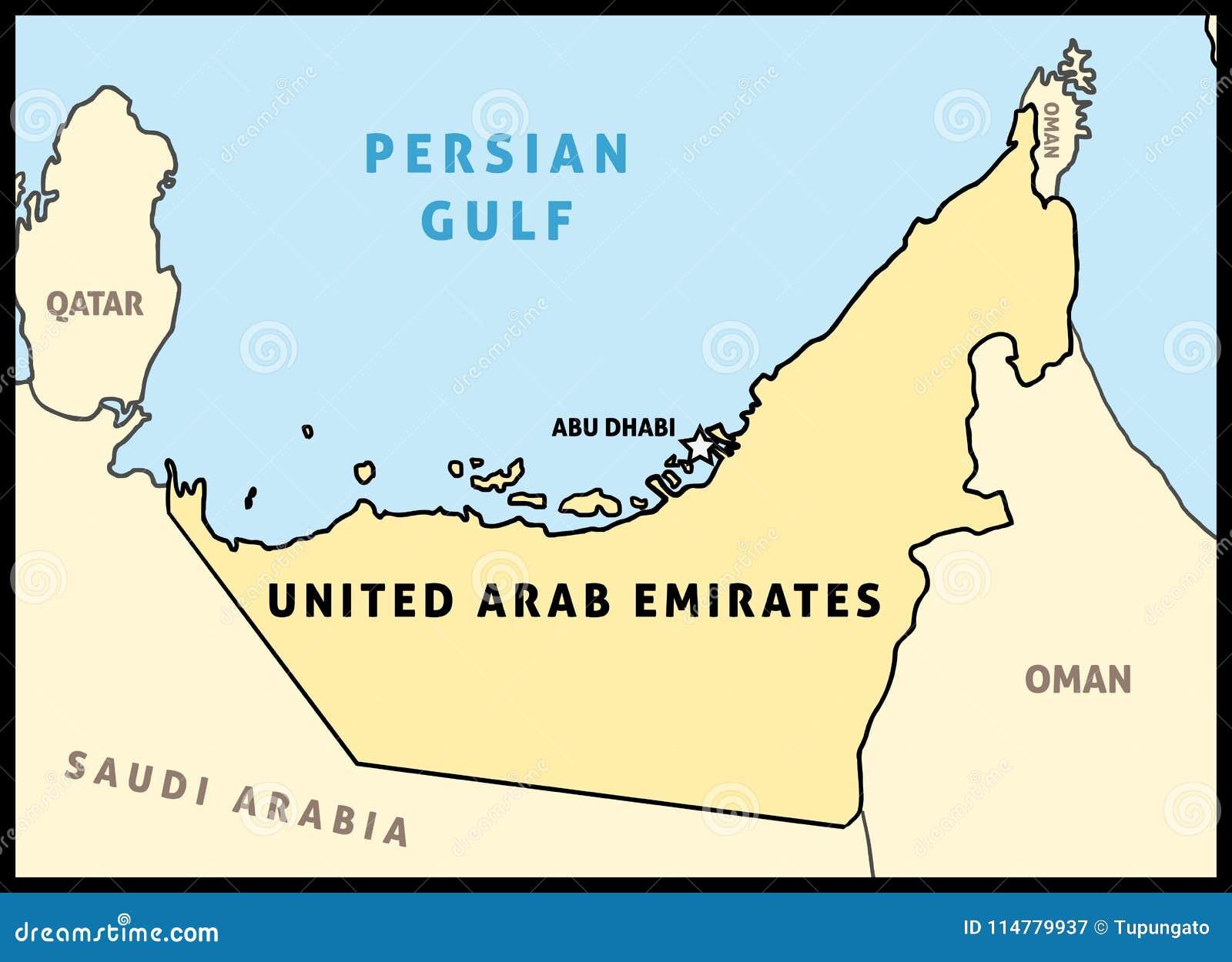 United Arab Emirates map stock vector. Illustration of destination ...
