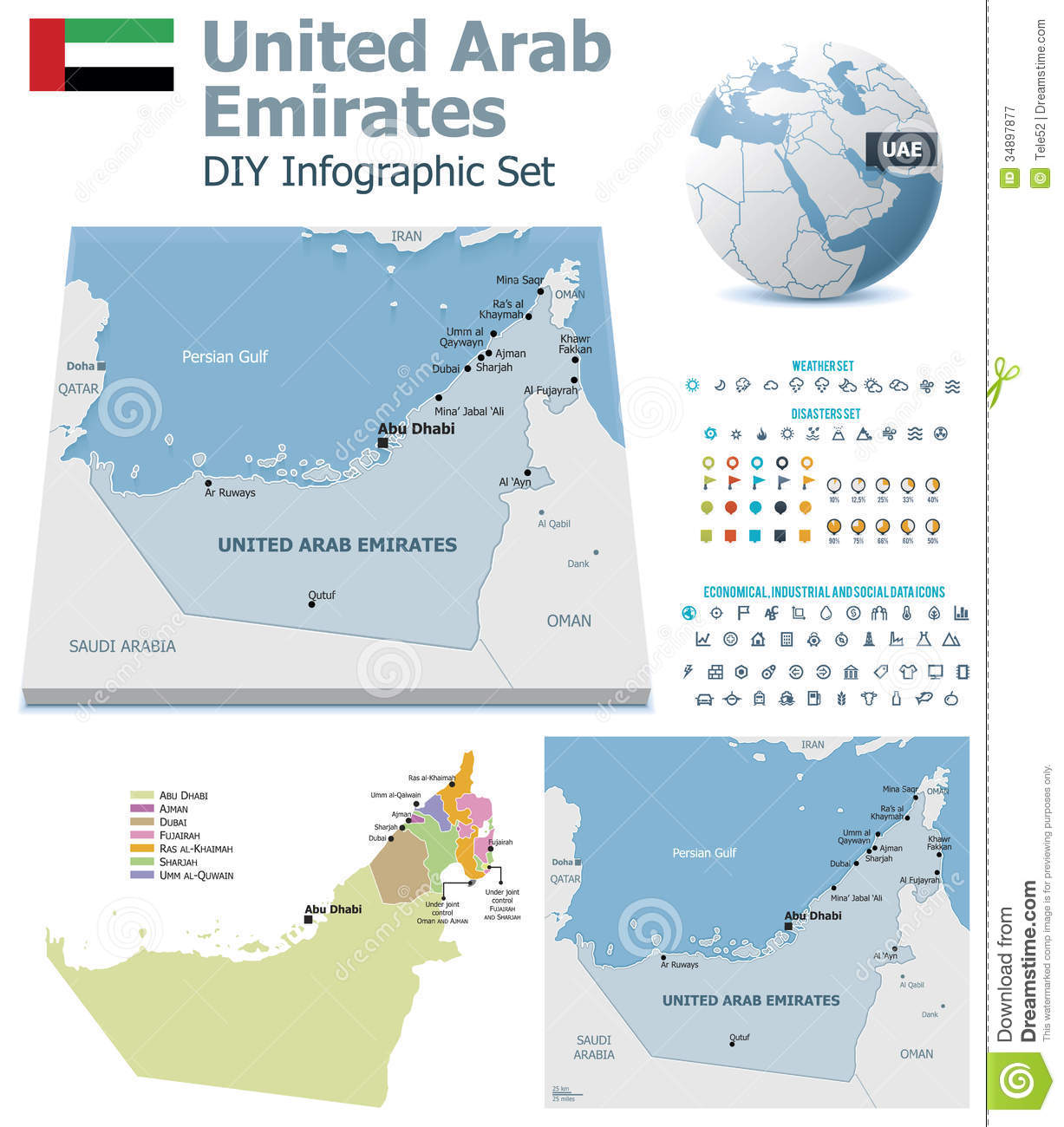 United Arab Emirates Maps With Markers Royalty Free – Dubai United Arab Emirates Map