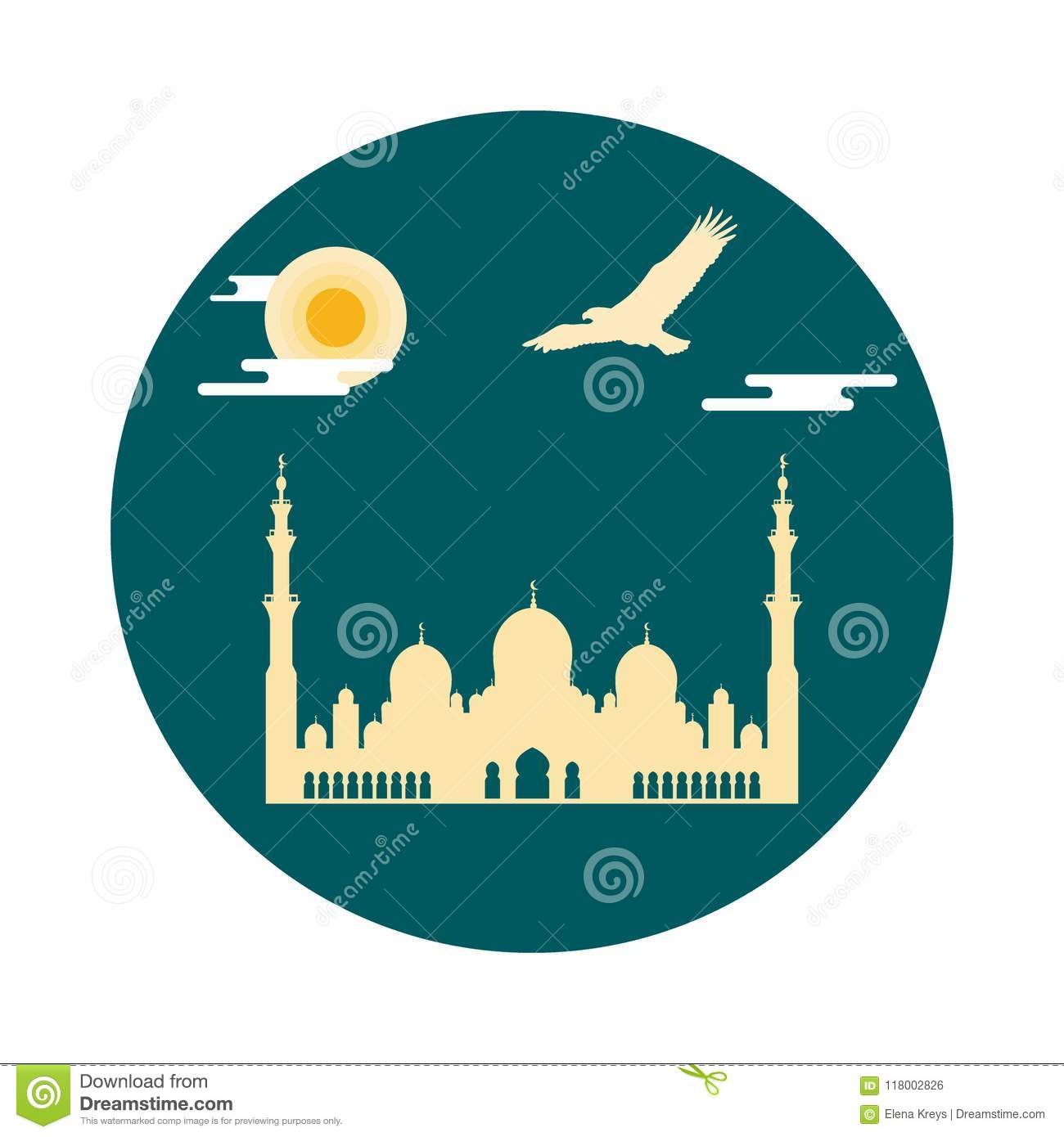 United Arab Emirates Symbols Sheikh Zayed Mosque Silhouette And