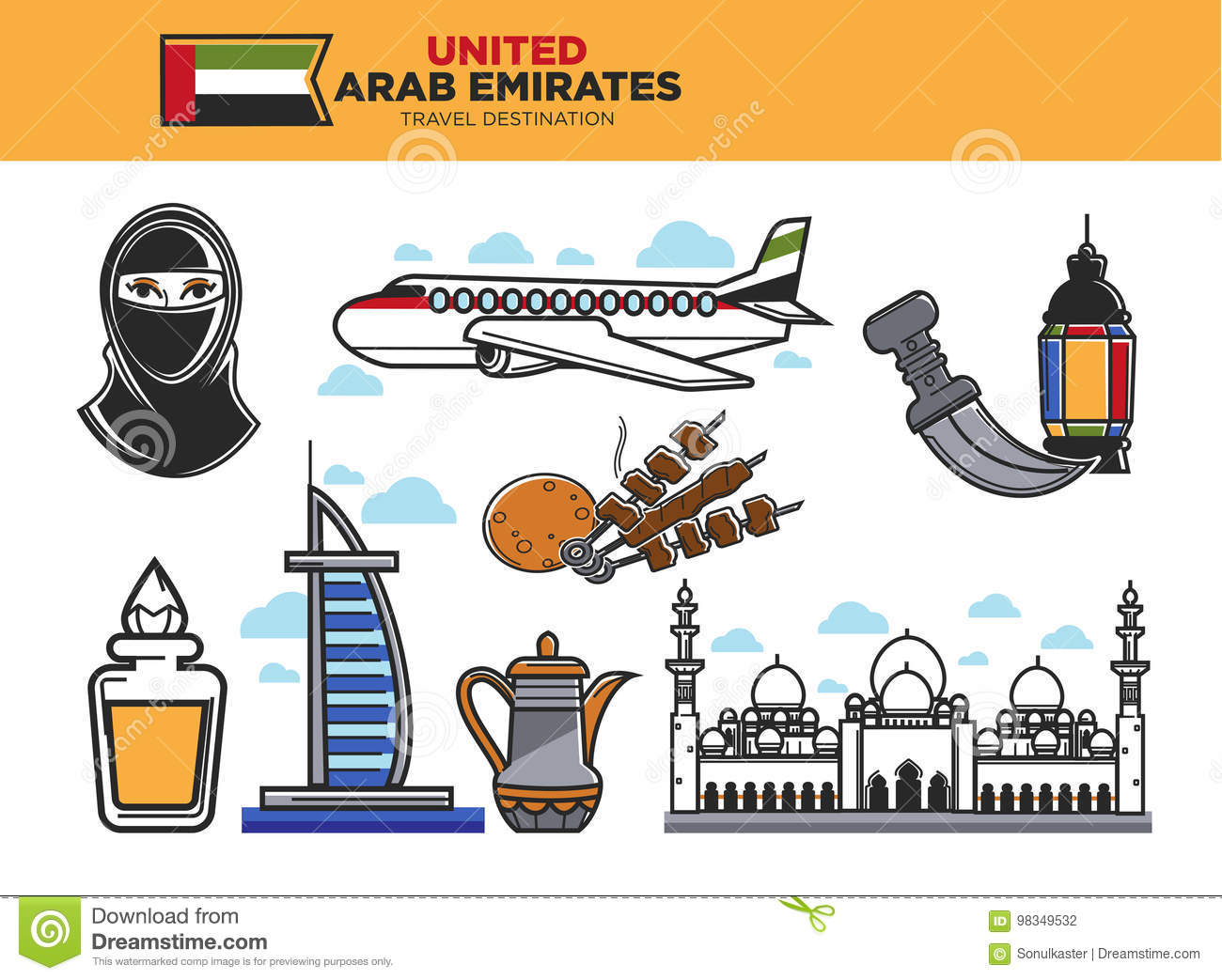 United arab emirates symbols stock vector illustration of united arab emirates travel destination poster with country symbols stock photography biocorpaavc Images