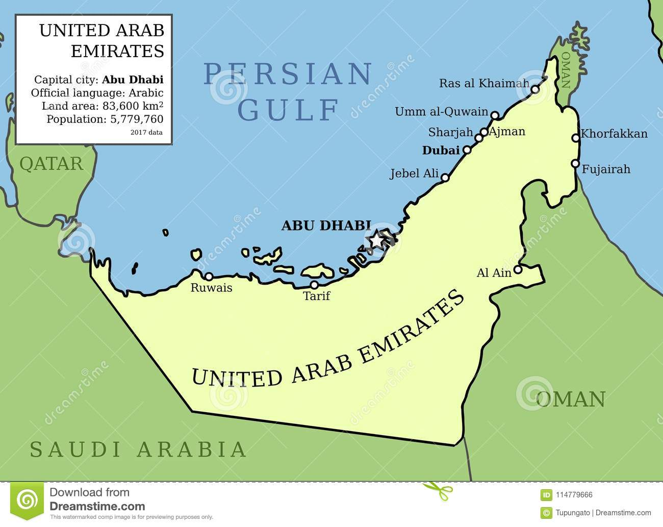 Map of UAE stock vector. Illustration of division, middle - 114779666