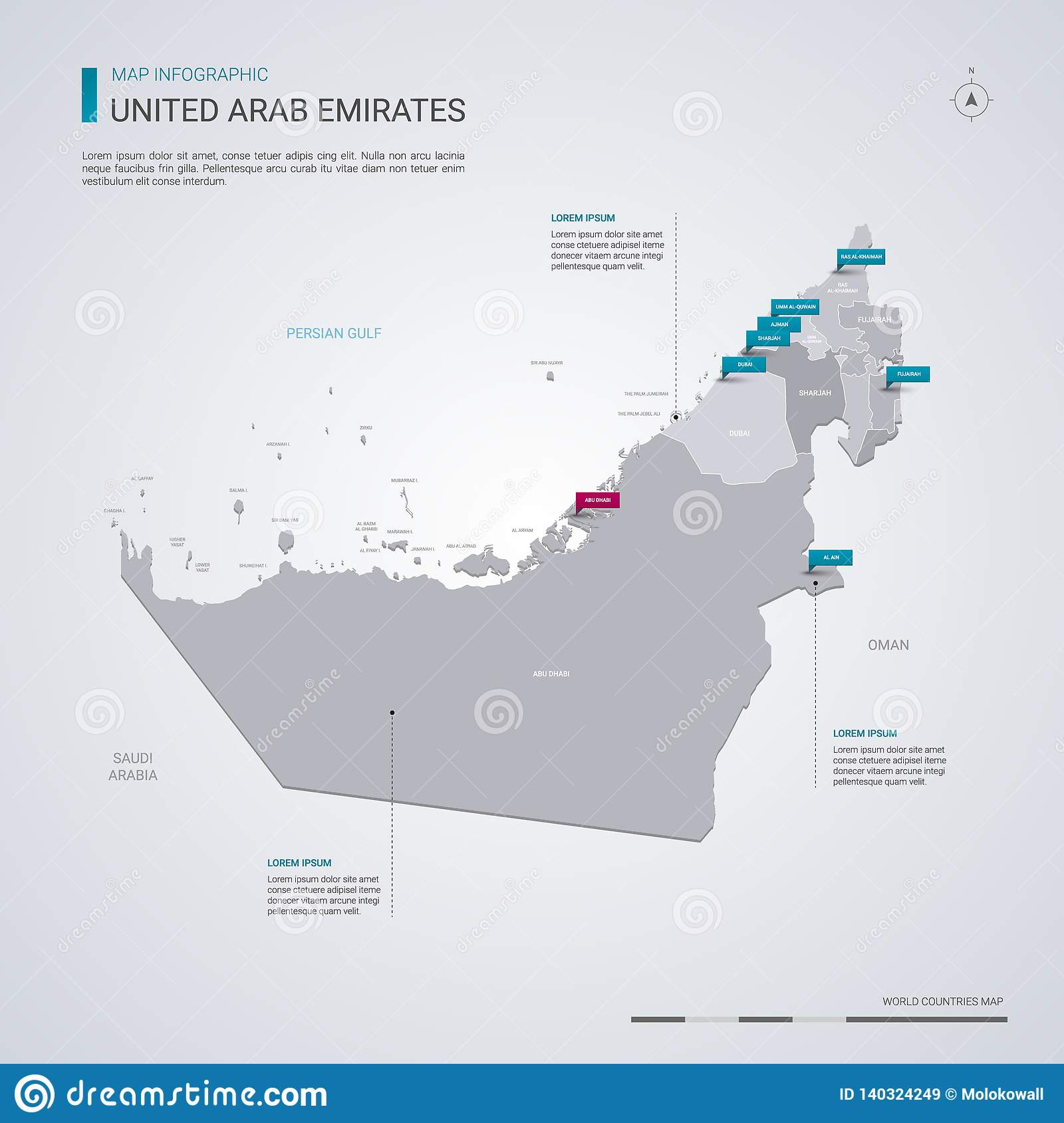 United Arab Emirates Vector Map With Infographic Elements