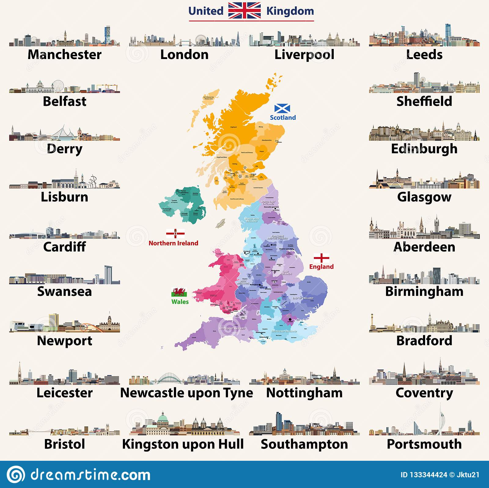 Map Of Uk And Cities.United Kingdom Cities Skylines Detailed Map Of United Kingdom With