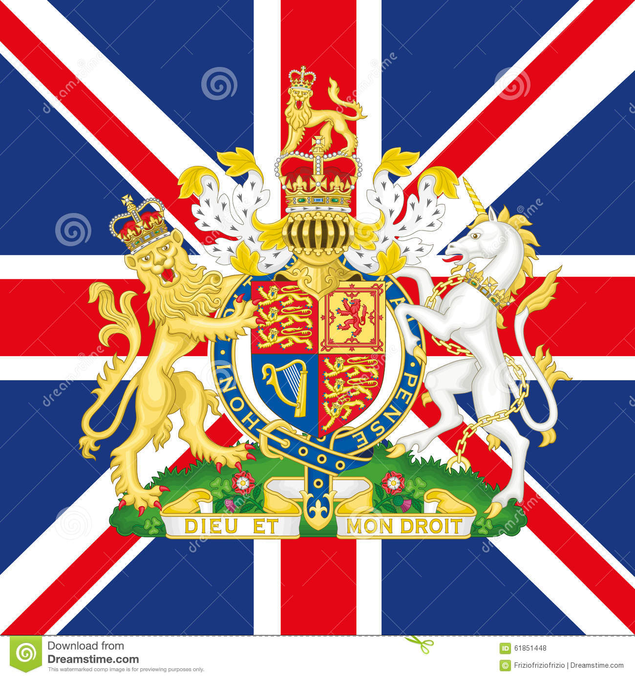 United Kingdom Coat Of Arm And Flag Editorial Stock Photo ...