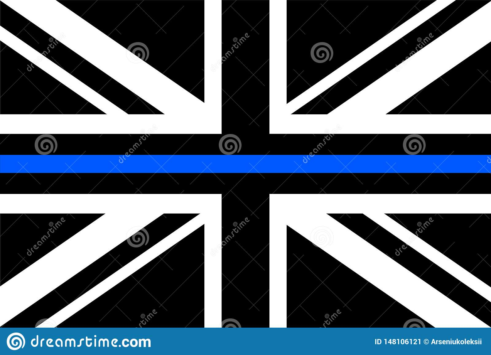 United Kingdom flag a with thin blue line