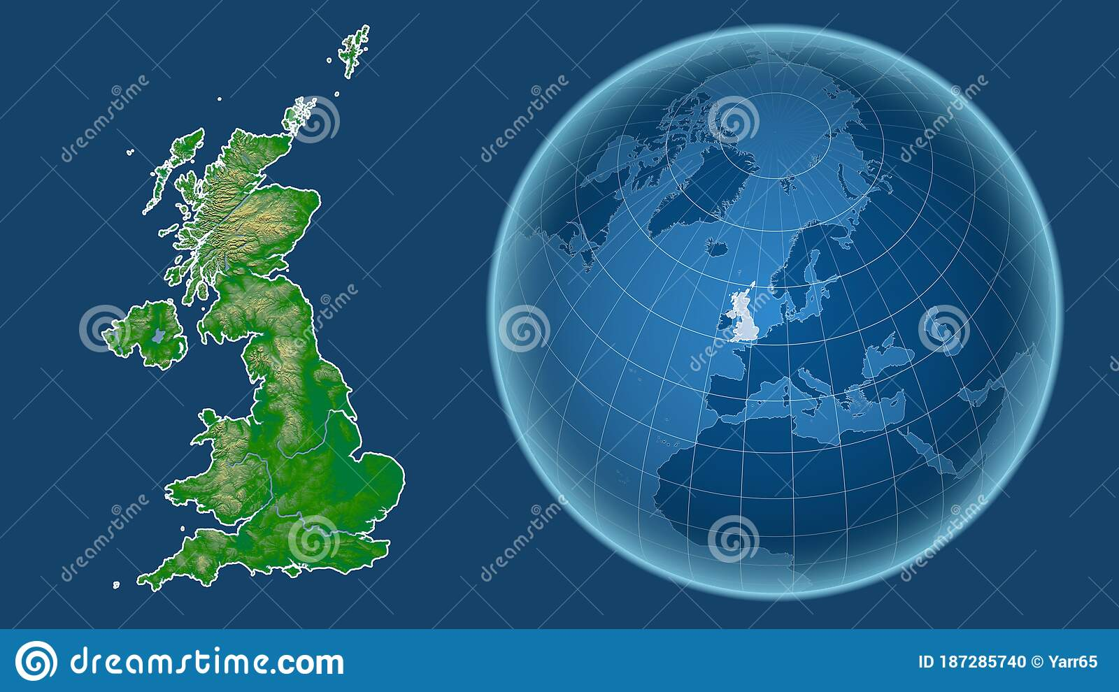 Picture of: United Kingdom Physical Country And Globe Isolated Stock Illustration Illustration Of Global Atlas 187285740
