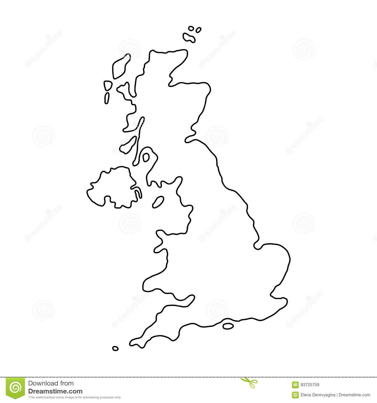 Map Of Uk Black And White.The United Kingdom Of Great Britain And Northern Ireland Map Black