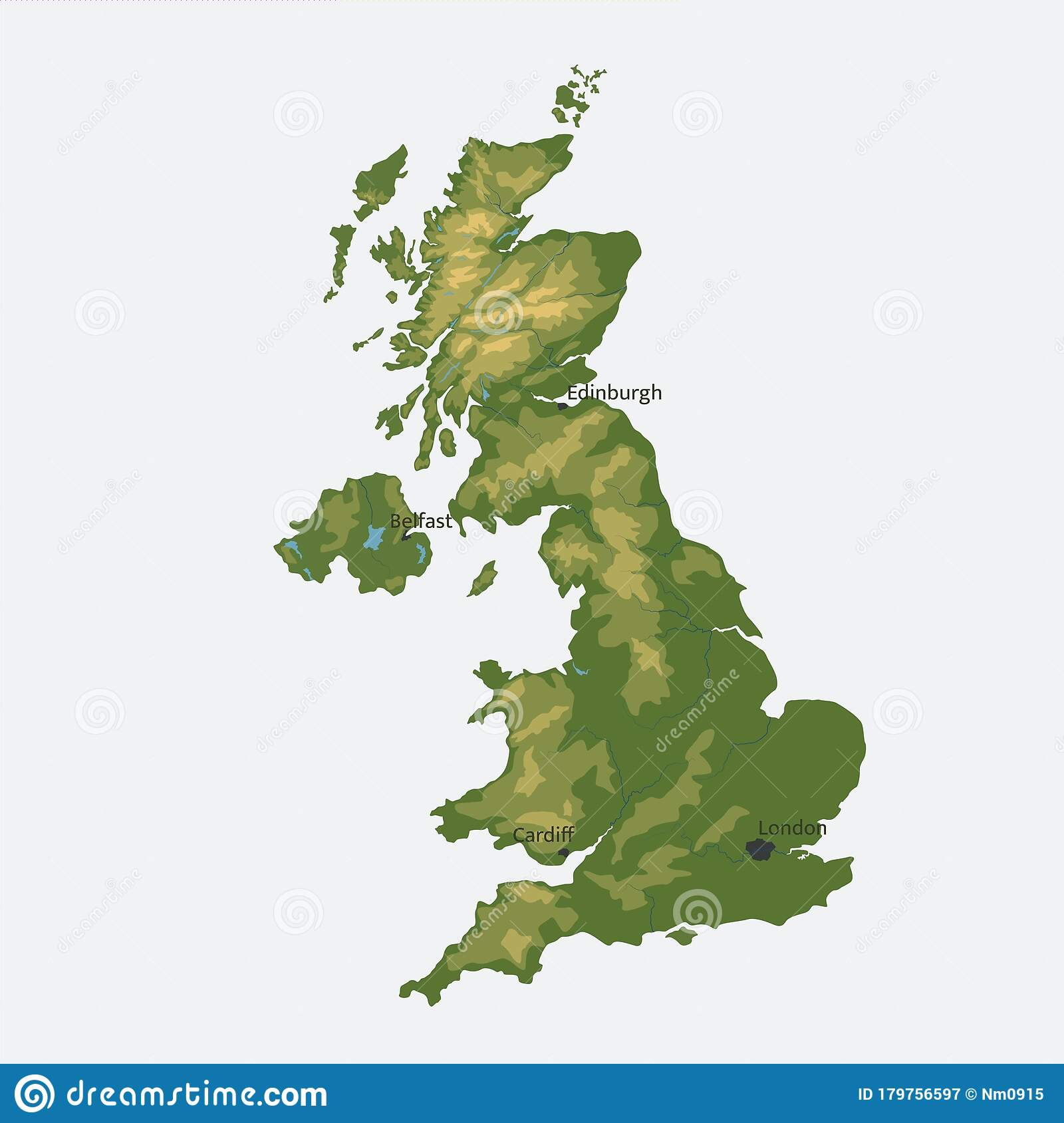 Picture of: United Kingdom Of Great Britain And Northern Ireland Vector Map Color Physical Map Stock Vector Illustration Of Illustrations Country 179756597