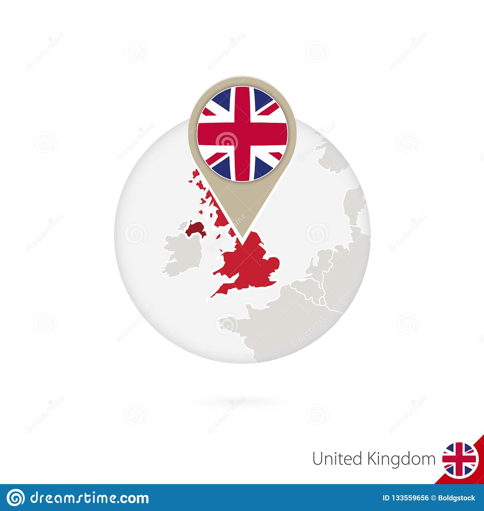 United Kingdom Map And Flag In Circle  Map Of United Kingdom