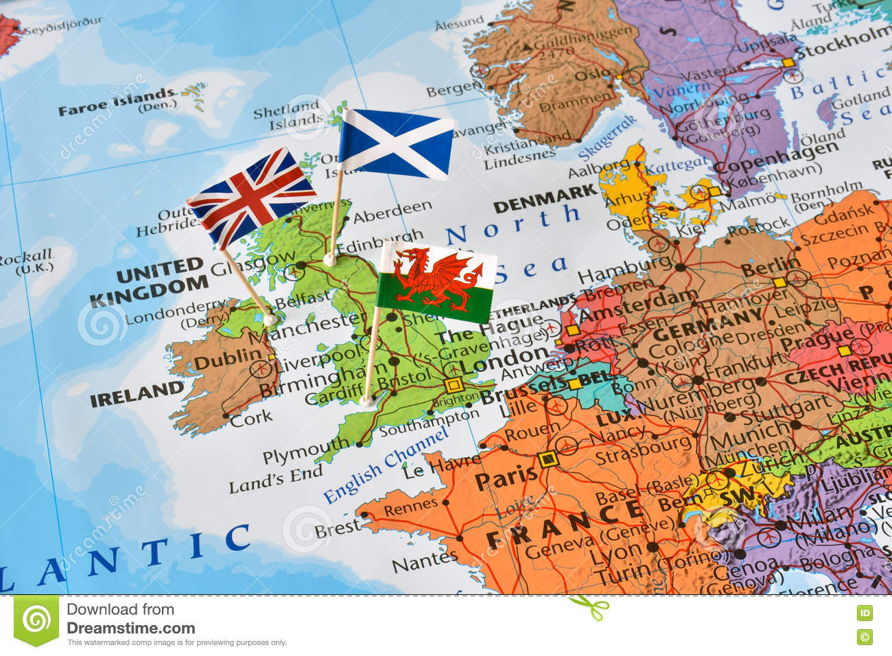United Kingdom Map Flags Of England Scotland Wales Brexit