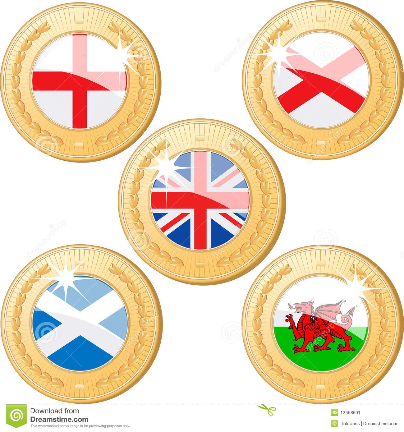United Kingdom Medals stock vector  Illustration of scotland