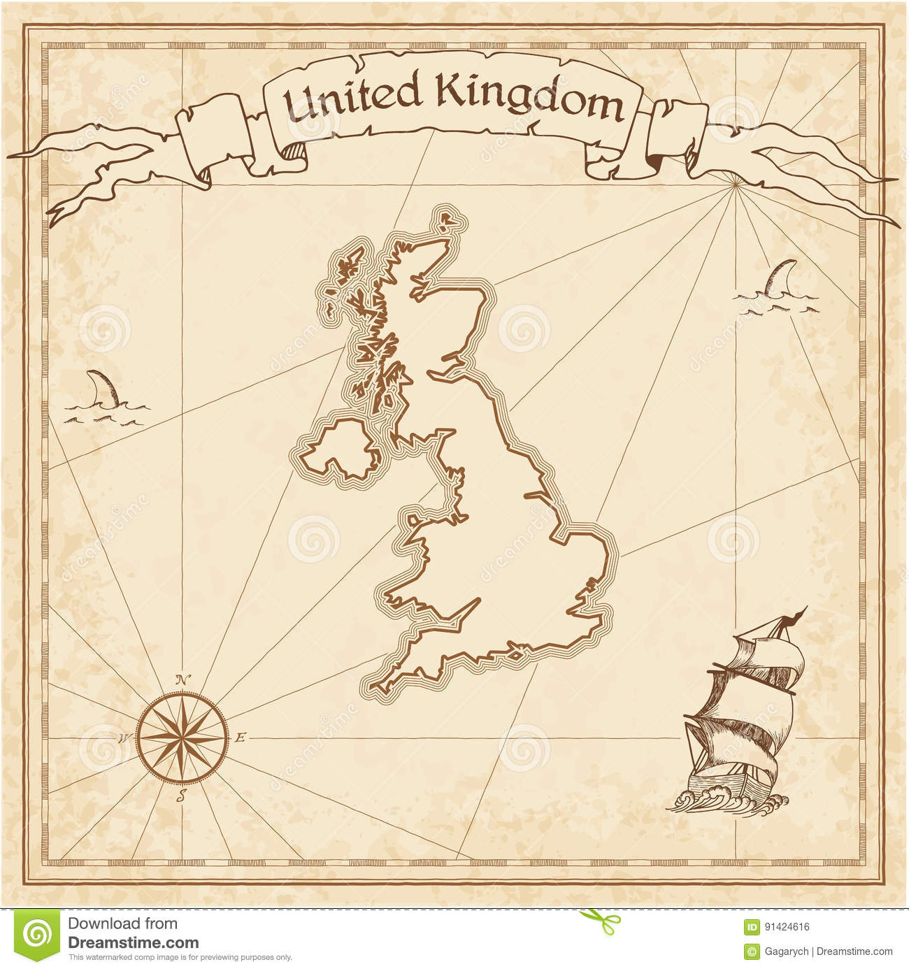 Map Of England Template.United Kingdom Old Treasure Map Stock Vector Illustration Of