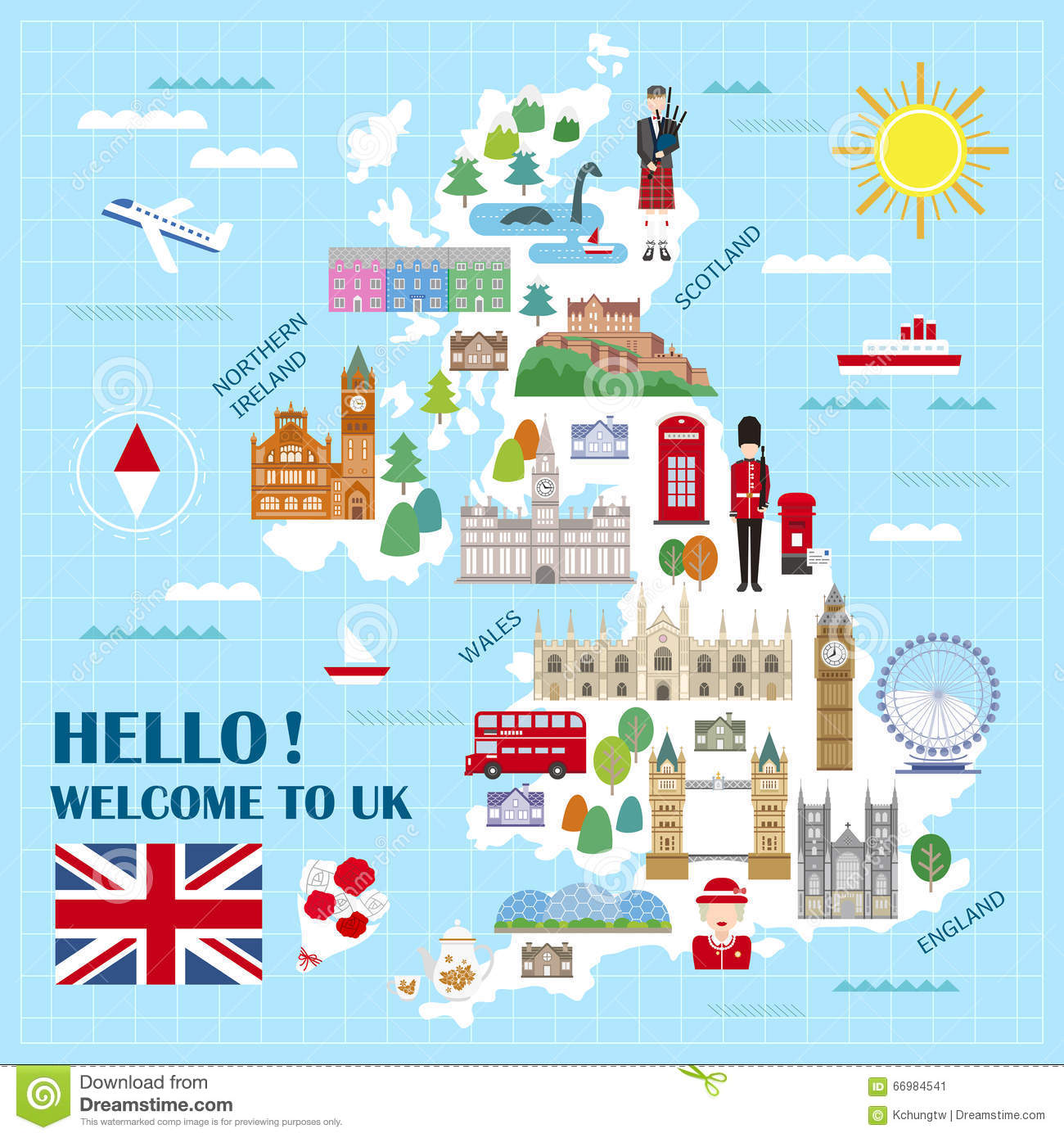 Travel Map London.United Kingdom Travel Map Stock Vector Illustration Of London