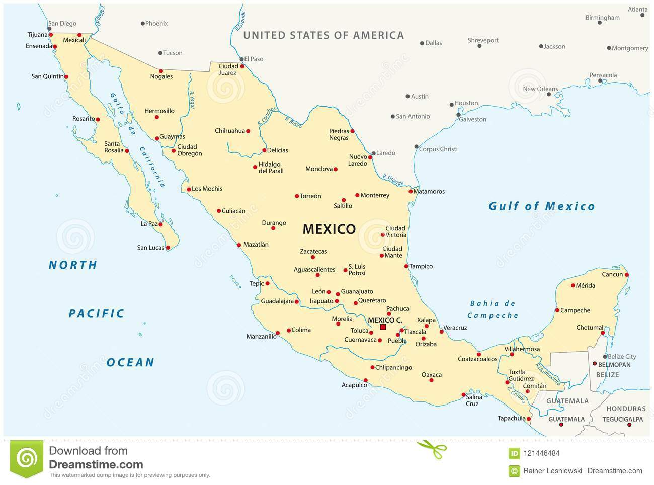 United Mexican States Vector Map Stock Vector - Illustration of ...