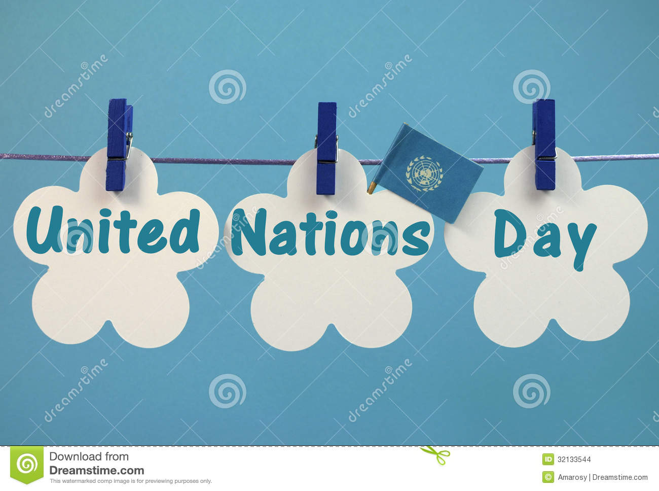 United Nations Day Greeting Message Written Across White