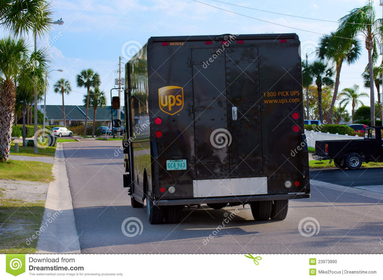 United parcel service ups truck van delivery editorial image image