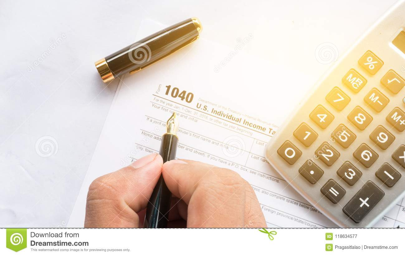 United State 1040 Individual Tax Return Form With Pen